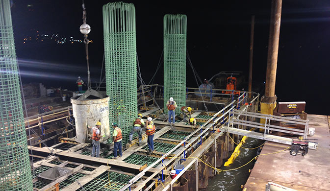Bridge-Pier-17-footer-pour-from-the-existing-bridge-at-night